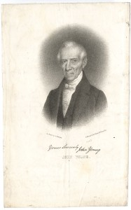 "Picture shows a bust-length lithographed portrait of an older John Young. His eyes directly face the viewer, though his body is slightly angled to the viewer's right. His white hair is parted on the viewer's right and is combed over. He wears a dark suit jacket with notched lapels, a dark vest, a white ruffled shirt, and a white cravat with a small bow-tie. A dark background frames Young's head and upper shoulders. ""On stone by Albert Newsam."" is printed on a downward slant below the portrait in the left. ""P.S. Duval & Co's Steam lith Press Phil"" is printed on an upward slant below the portrait in the right. Below these lines is the printed facsimile of the valediction of the sitter: ""Yours Sincerely John Young."" Below the valediction , John Young, is printed in hollow block letters. [end of description]"