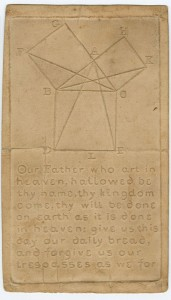 "Our Father Who Art in Heaven. Boston, 1833. Raised-letter specimen card. 8.5 x 5 in. This pictures shows a tactile specimen made from a piece of light brown rectangular cardstock, with a geometric shape and the Lord's prayer embossed into its surface. There is a crease in the middle of the paper, as though it has been folded. There is a geometric shape comprised of squares and triangles on the upper half of the print, with alphabetic letters A through I and K at each corner of the figure. The words on the lower half of the card form part of the Lord's prayer and read as follows: ""Our Father who art in heaven, hallowed be thy name, thy kingdom come, thy will be done on earth as it is done in heaven: give us this day our daily bread, and forgive us our trespasses as we for"". The text ends at the word ""for,"" without punctuation. Specimen was originally included in the ""Address to the Trustees of the New England Institution for the Education of the Blind"" (Boston 1833). [End of description]"