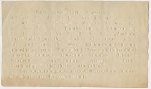 New York Point Alphabet. New York?, ca. 1868.