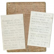 "Manuscript letters signed ""Jenny,"" and pasteboard writing guide, late 19th century."