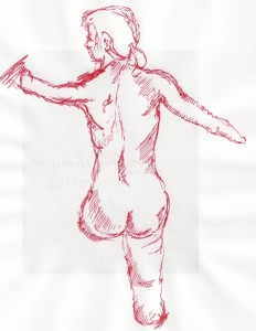 Picture depicts a nude figure study of the back of a woman with shortened legs and arms drawn in red ink on white paper. The figure is upright. She looks to the viewer's left. Her hair is swept away from her face and in a low ponytail. Her arms, shortened to near below the elbows, are extended out from her body. Her left leg is shortened to just below her buttocks. Her right leg is shortened to just below her knee. [end of description]